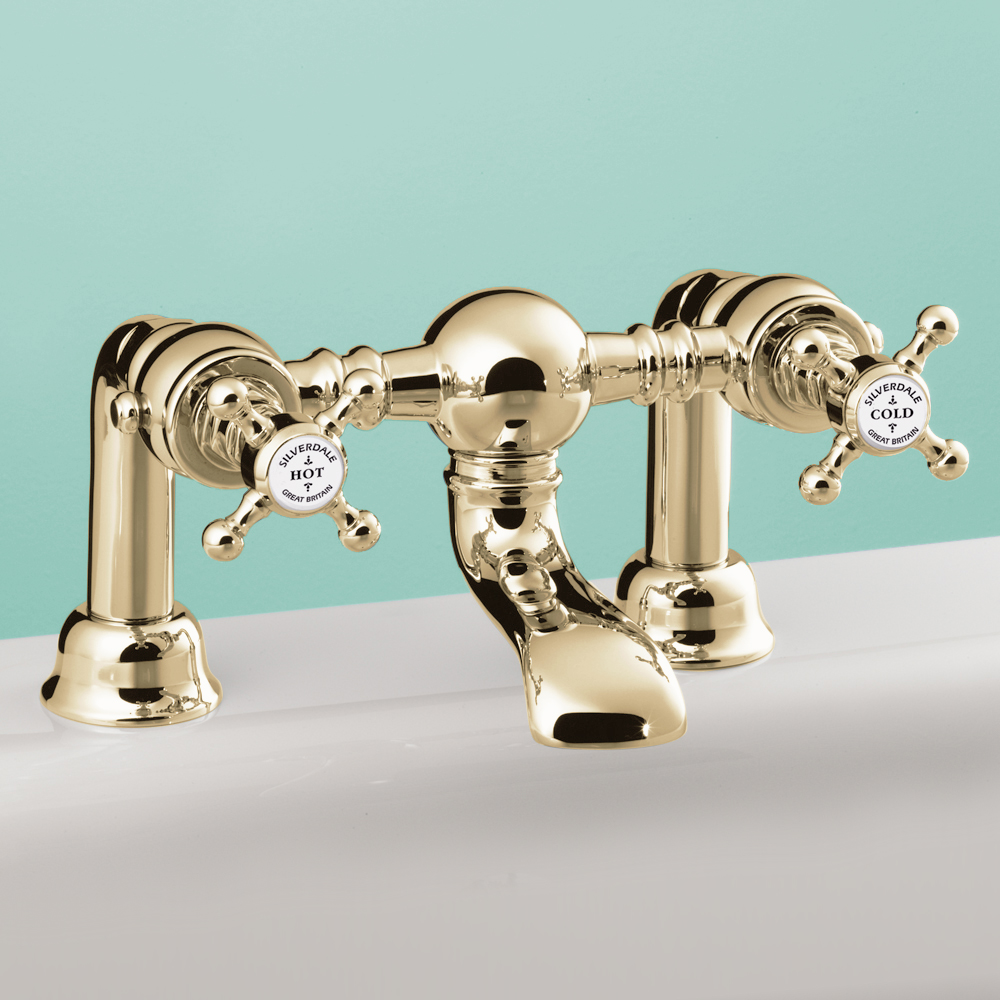 Silverdale Victorian Bath Filler Bridge Taps Gold Large Image