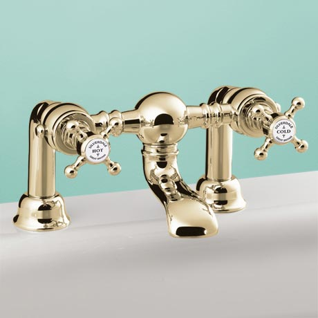 Silverdale Victorian Bath Filler Bridge Taps Gold