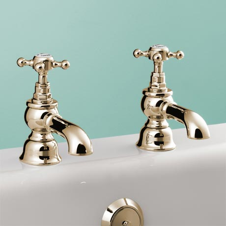 Silverdale Victorian Bath Pillar Taps Gold