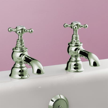 Silverdale Victorian Bath Pillar Taps Nickel