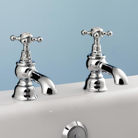 Silverdale Victorian Bath Pillar Taps Chrome