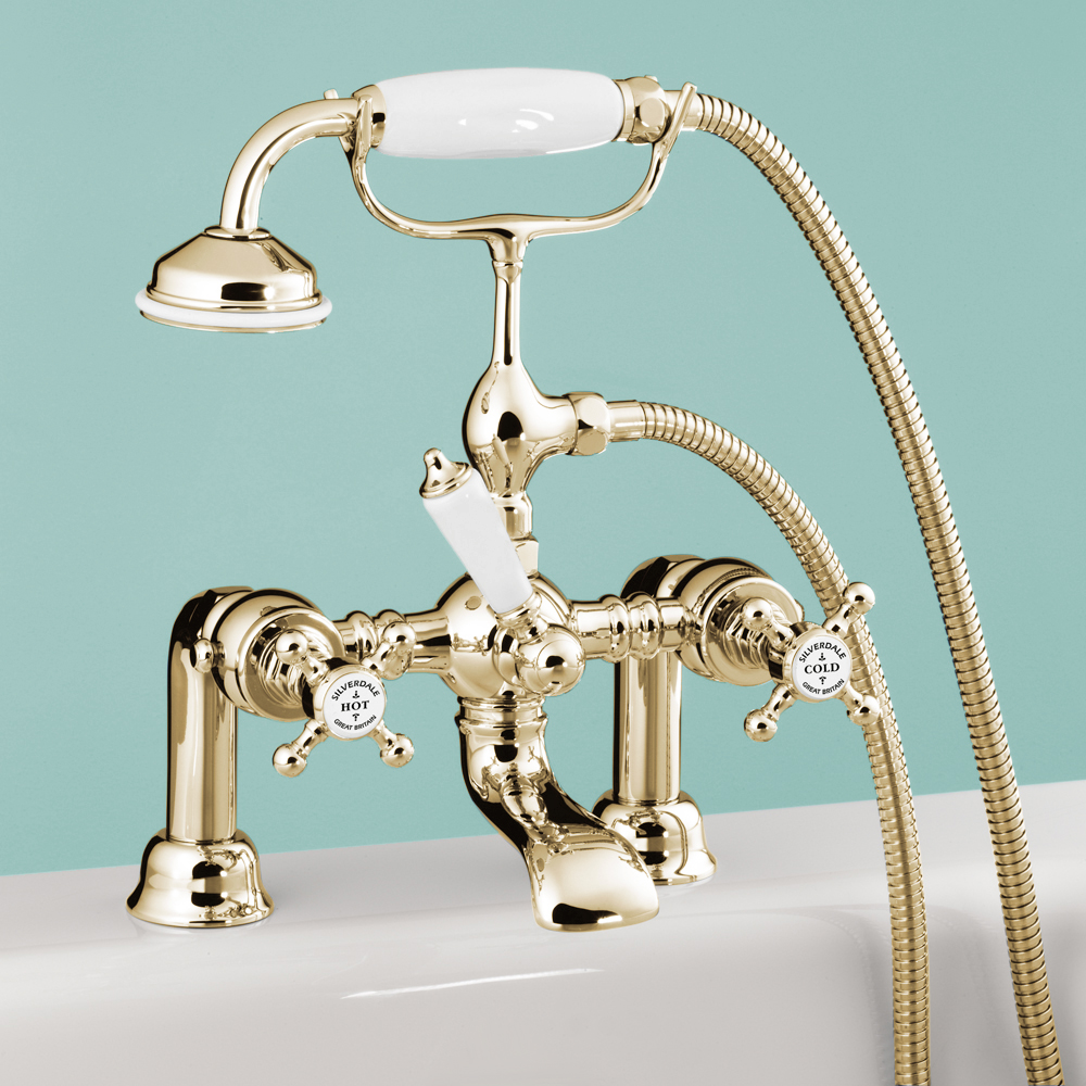 Silverdale Victorian Bath Shower Mixer Taps | Gold Finish | Online Now