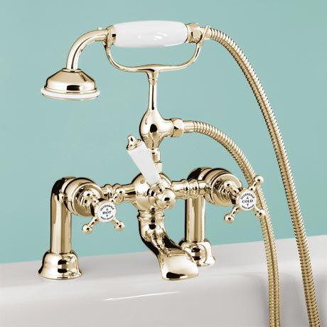 Silverdale Victorian Bath Shower Mixer Taps Gold