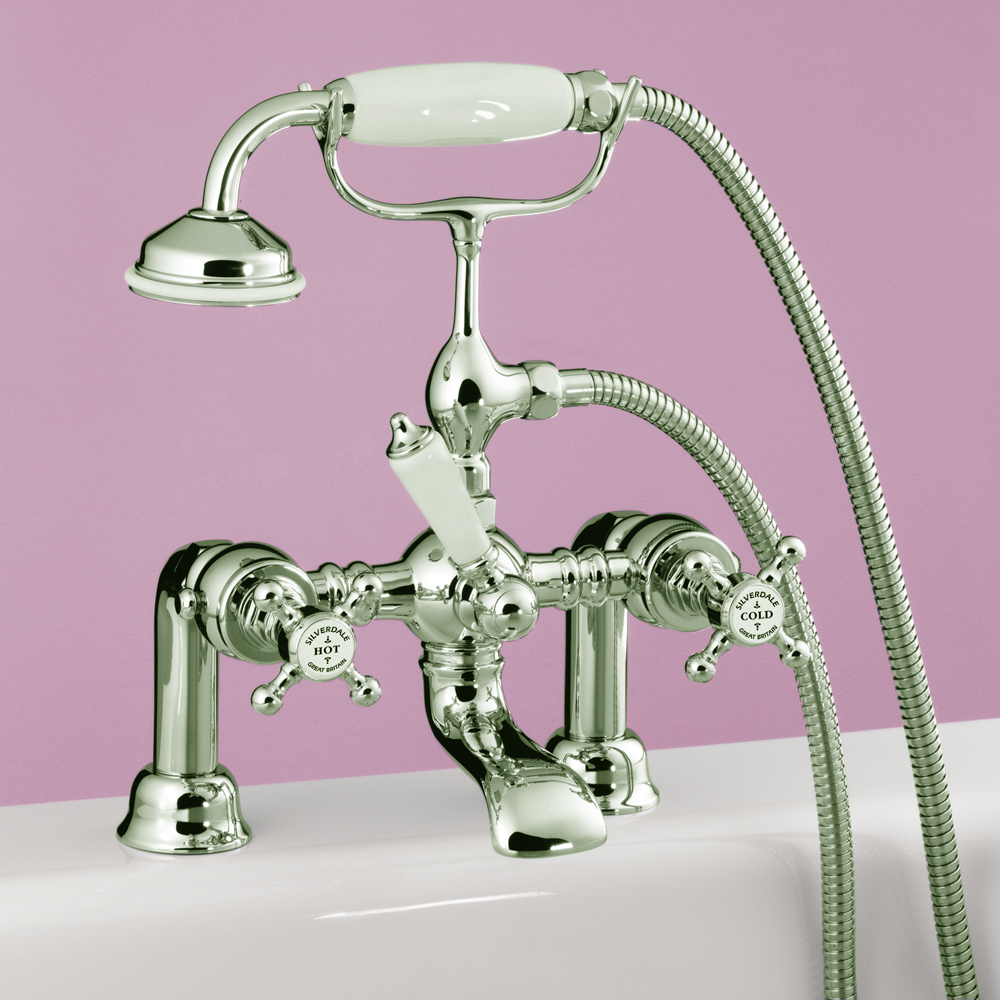 Silverdale Victorian Bath Shower Mixer Taps Nickel Large Image
