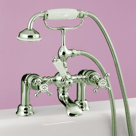 Silverdale Victorian Bath Shower Mixer Taps Nickel