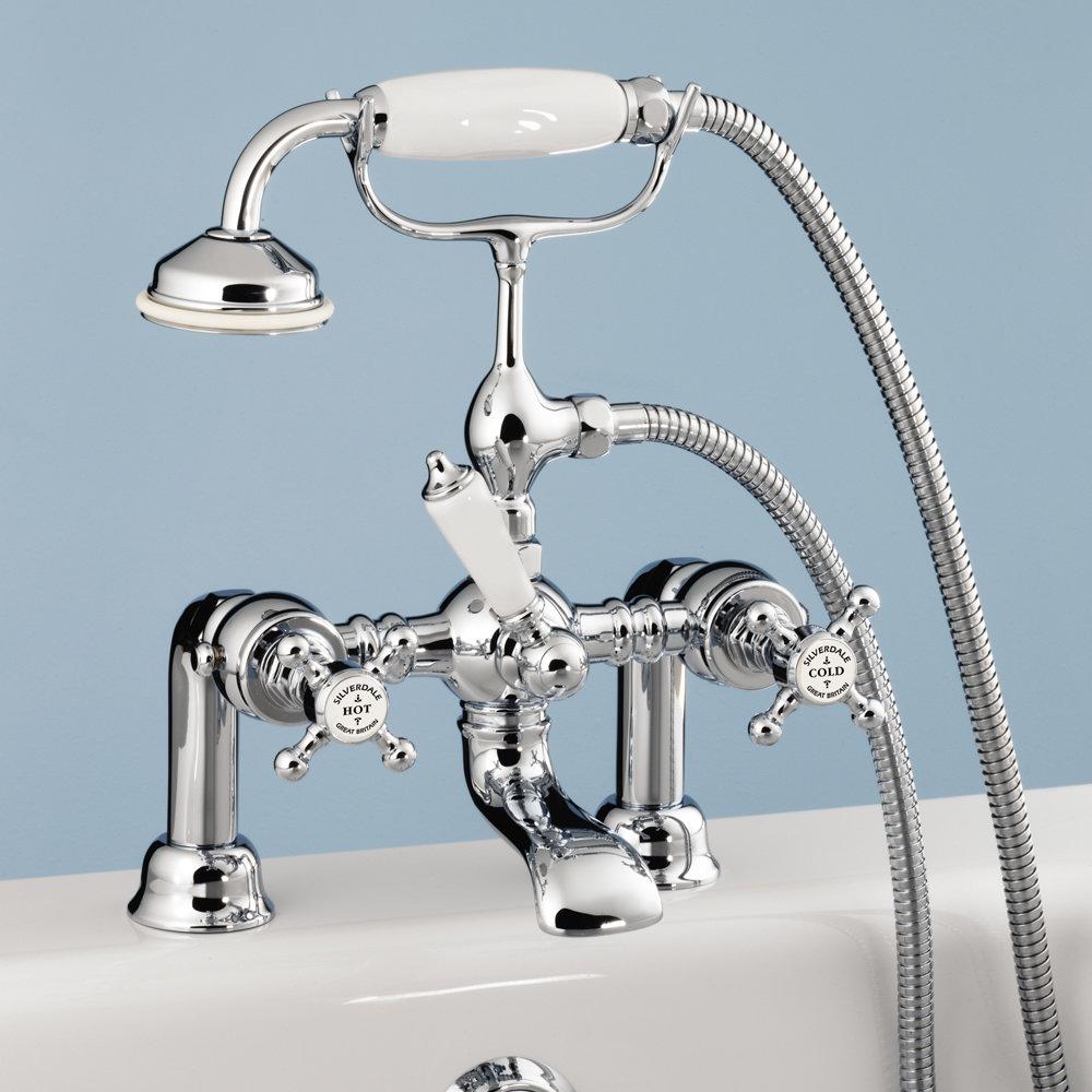 Silverdale Victorian Bath Shower Mixer Taps Chrome Large Image
