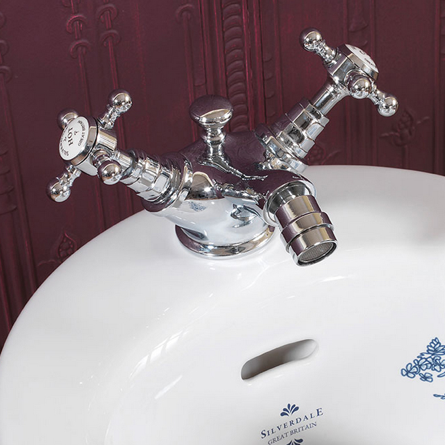 Silverdale Victorian Bidet Monobloc with Pop Up Waste Chrome Large Image
