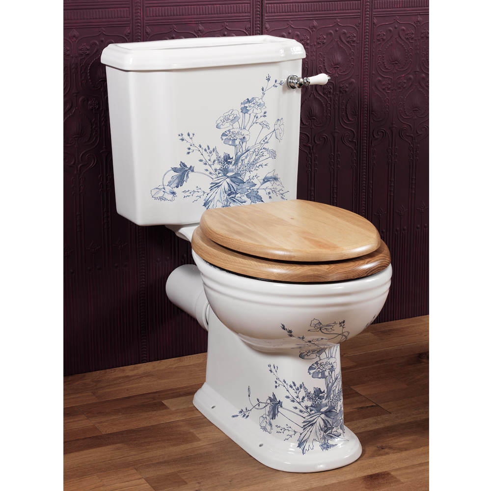 Silverdale Victorian Blue Garden Pattern Close Coupled Toilet - Excludes Seat Large Image