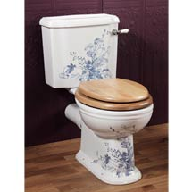 Silverdale Victorian Blue Garden Pattern Close Coupled Toilet - Excludes Seat Medium Image