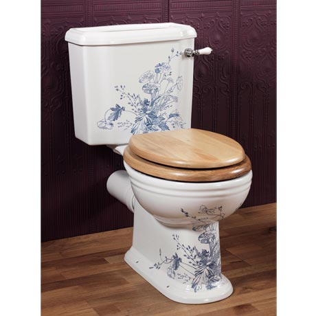Silverdale Victorian Blue Garden Pattern Close Coupled Toilet - Excludes Seat