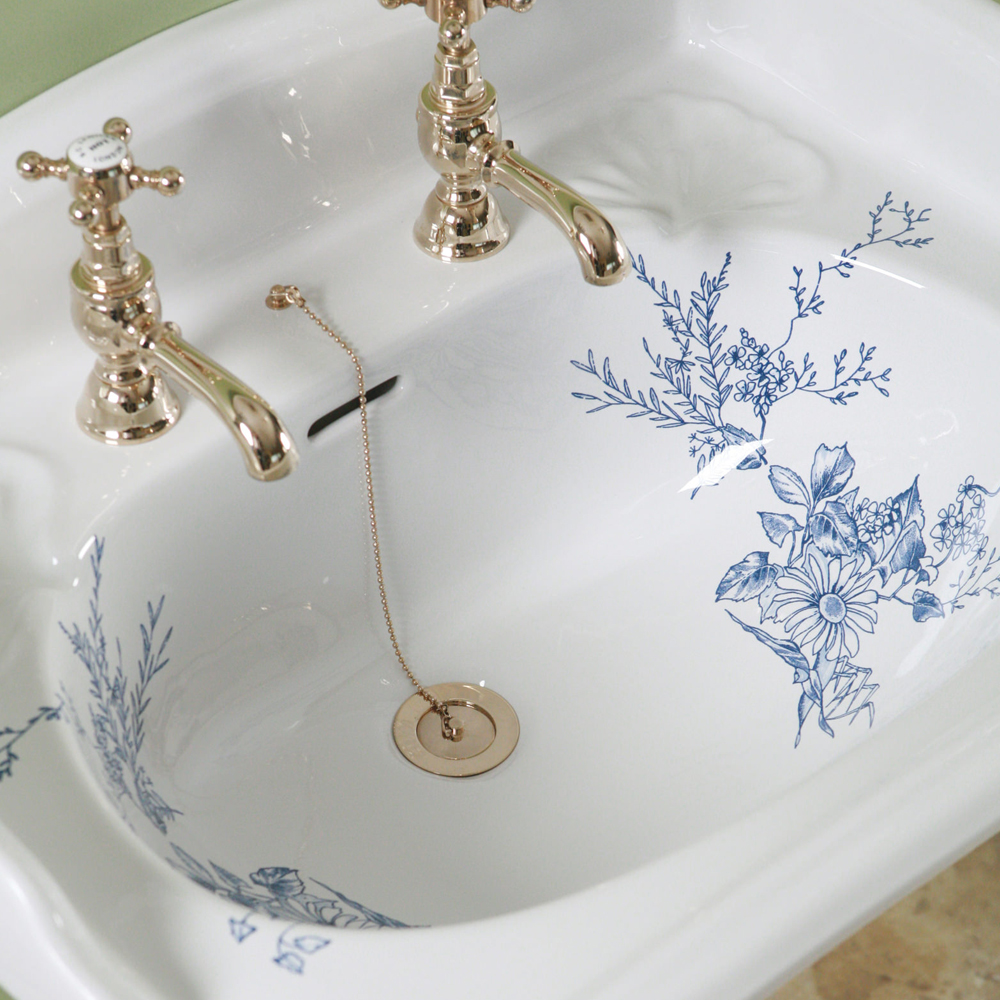 Silverdale Victorian Blue Garden Pattern 635mm Wide Basin with Full Pedestal profile large image view 2