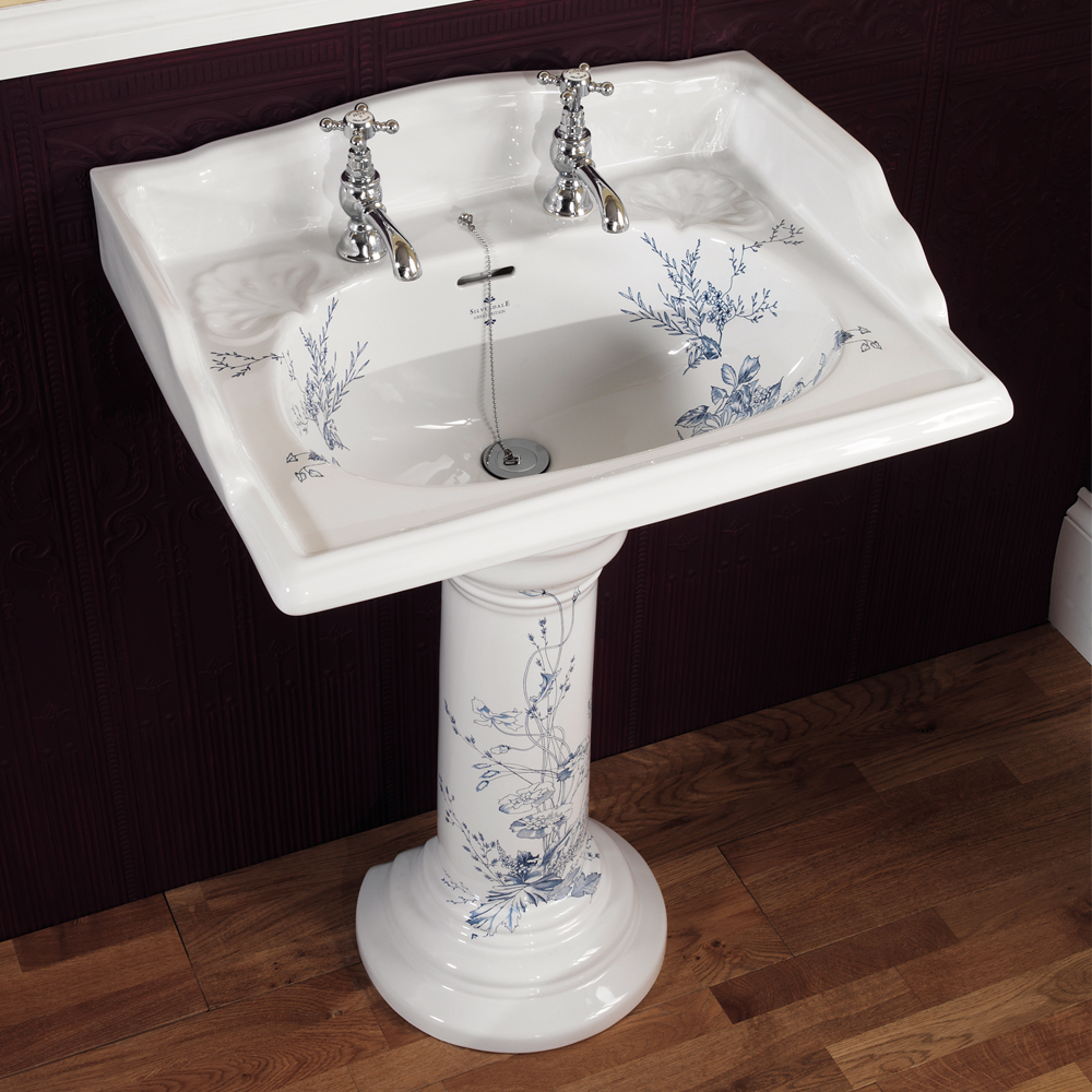 Silverdale Victorian Blue Garden Pattern 635mm Wide Basin with Full Pedestal Large Image