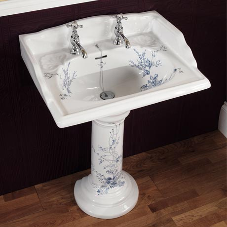 Silverdale Victorian Blue Garden Pattern 635mm Wide Basin with Full Pedestal