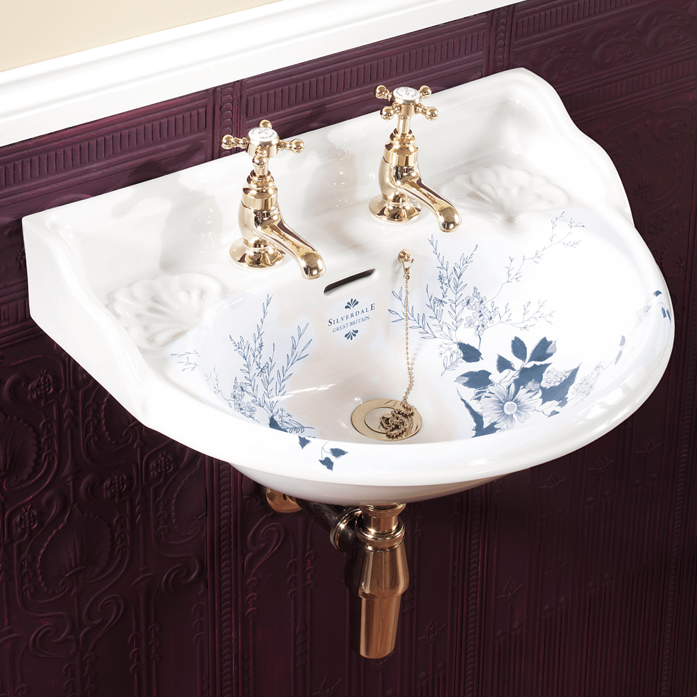 Silverdale Victorian Blue Garden Wall Hung Cloakroom Basin (530mm Wide - 2 Tap Hole) Large Image
