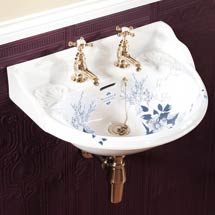 Silverdale Victorian Blue Garden Wall Hung Cloakroom Basin (530mm Wide - 2 Tap Hole) Medium Image