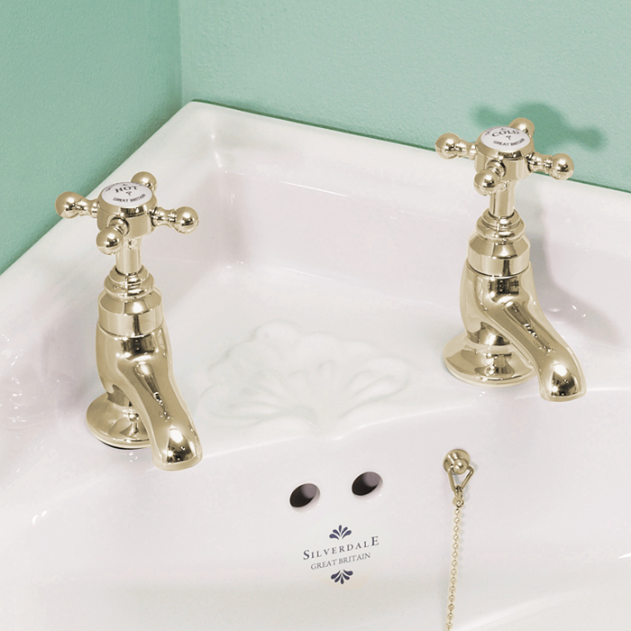 Silverdale Victorian Cloakroom Basin Pillar Taps Gold profile large image view 1