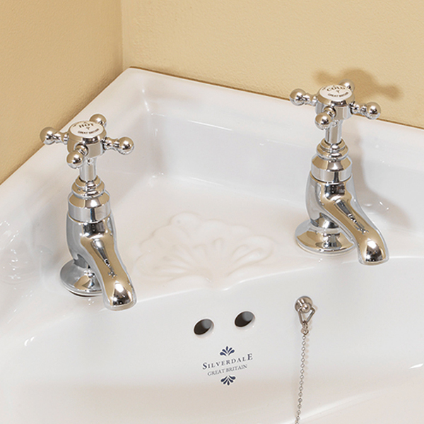 Silverdale Victorian Cloakroom Basin Pillar Taps Chrome Large Image