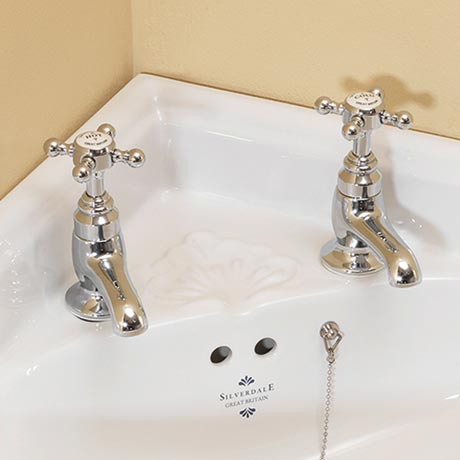 Silverdale Victorian Cloakroom Basin Pillar Taps Chrome
