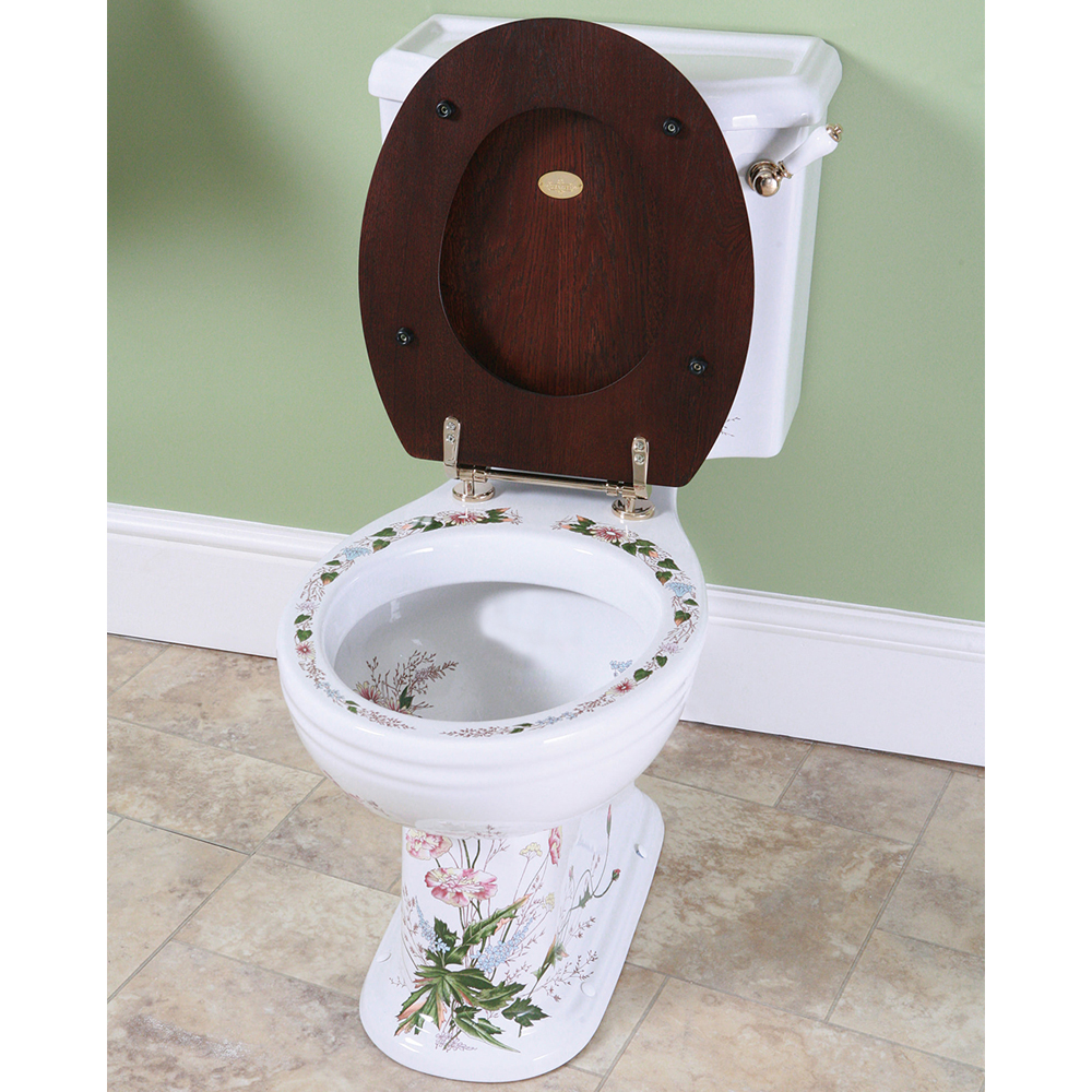 Silverdale Victorian Garden Pattern Close Coupled Toilet - Excludes Seat profile large image view 2