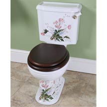 Silverdale Victorian Garden Pattern Close Coupled Toilet - Excludes Seat Medium Image
