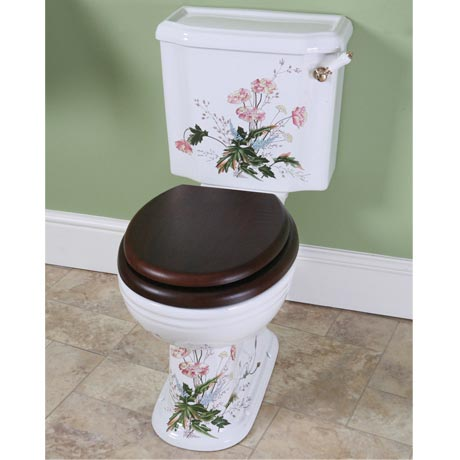 Silverdale Victorian Garden Pattern Close Coupled Toilet - Excludes Seat