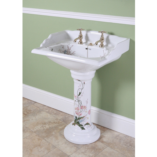 Silverdale Victorian Garden Pattern 635mm Wide Basin with Full Pedestal profile large image view 2
