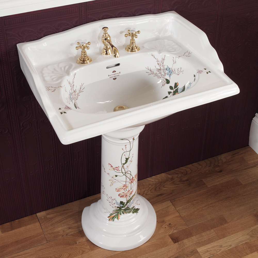Silverdale Victorian Garden Pattern 635mm Wide Basin with Full Pedestal Large Image