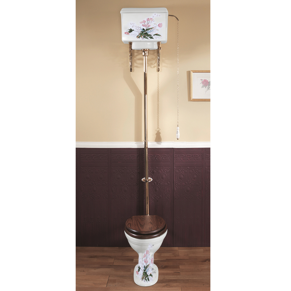 Silverdale Victorian Garden Pattern High Level Toilet - Excludes Seat profile large image view 1