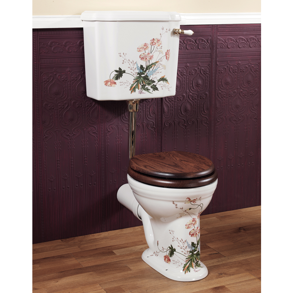 Silverdale Victorian Garden Pattern Low Level Toilet - Excludes Seat Large Image