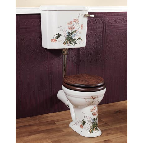 Silverdale Victorian Garden Pattern Low Level Toilet - Excludes Seat