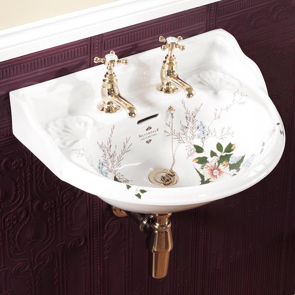 Silverdale Victorian Garden Wall Hung Cloakroom Basin (530mm Wide - 2 Tap Hole)