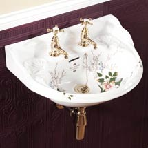Silverdale Victorian Garden Wall Hung Cloakroom Basin (530mm Wide - 2 Tap Hole) Medium Image