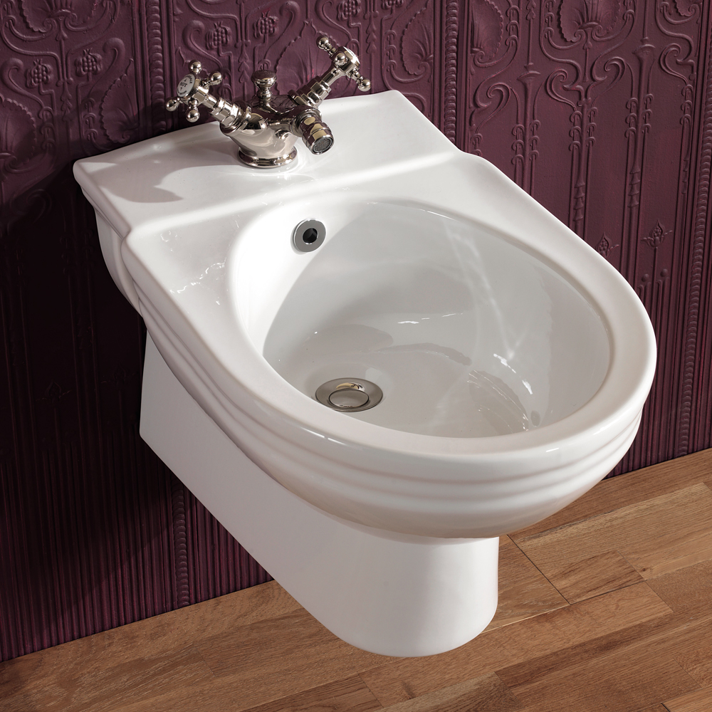 Silverdale Victorian Wall Hung Bidet - 1 Tap Hole Large Image