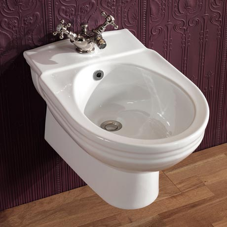 Silverdale Victorian Wall Hung Bidet - 1 Tap Hole