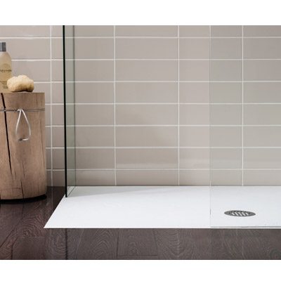 Simpsons White Anti-Slip Textured Slate Effect Shower Tray with Waste - 5 Size options Profile Large Image