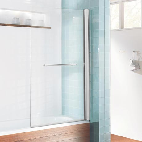 Simpsons Design Semi-Frameless Single Bath Screen + Towel Rail (850mm)