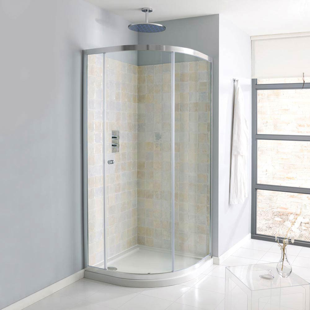 Simpsons Edge Offset Quadrant Single Door Shower Enclosure - 3 Size Options Large Image