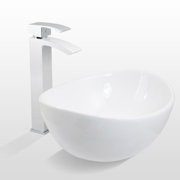 Summit high rise mono basin mixer with shell sit on vanity basin Large Image