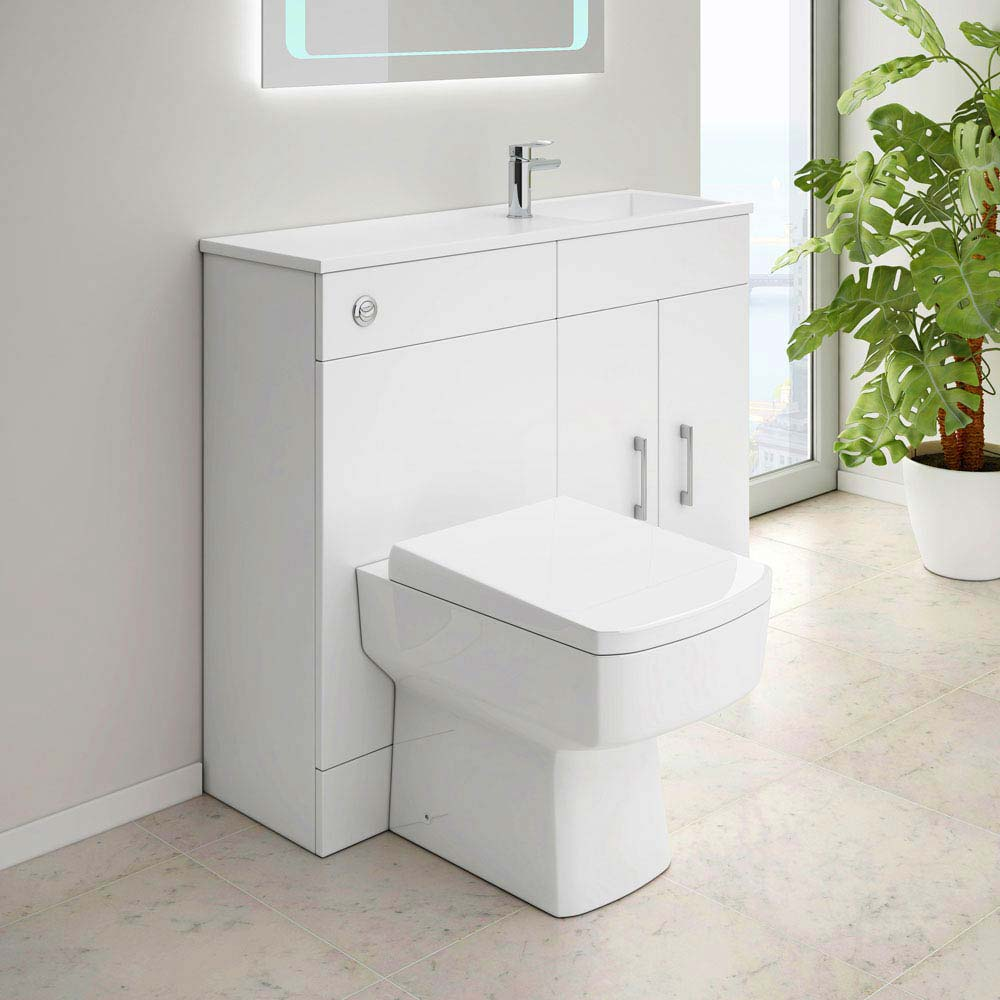 Slimline Combination Basin & Toilet Unit - White Gloss - (1000 x 305mm) profile large image view 4