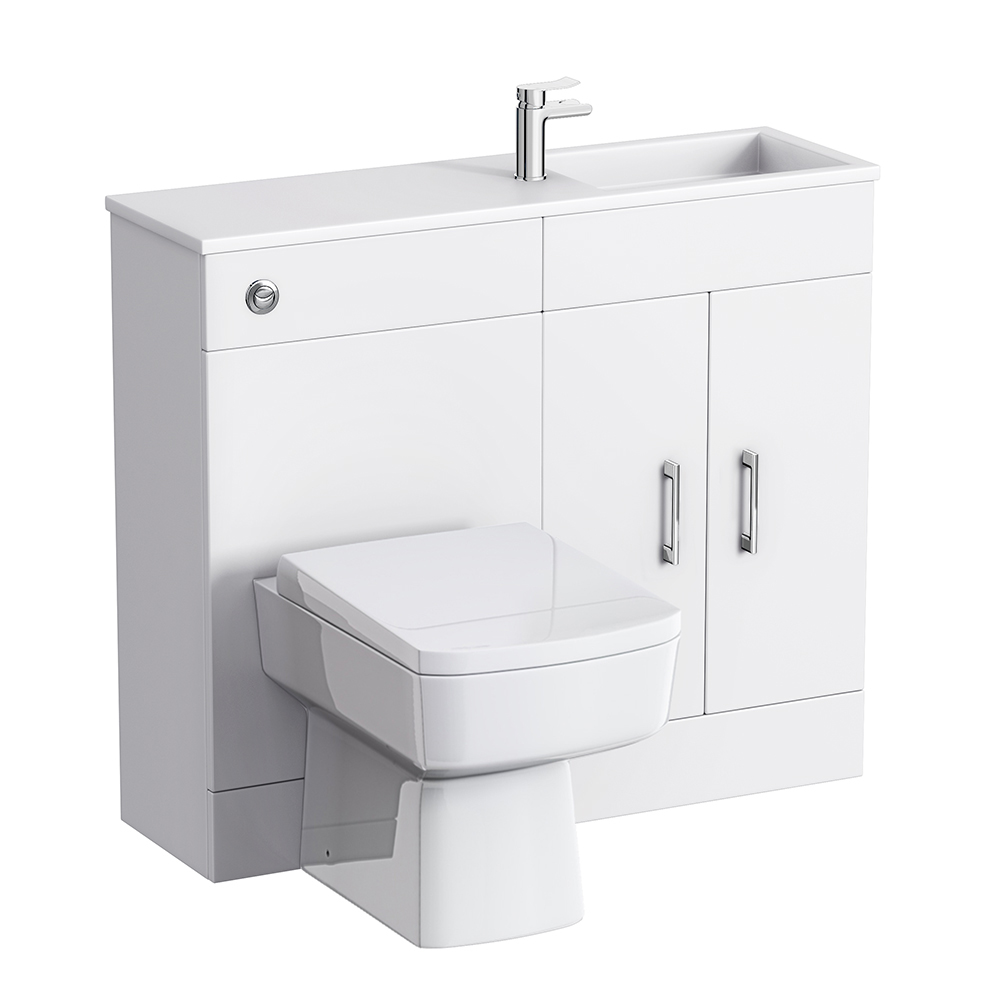 Slimline Combination Basin & Toilet Unit - White Gloss - (1000 x 305mm) profile large image view 1