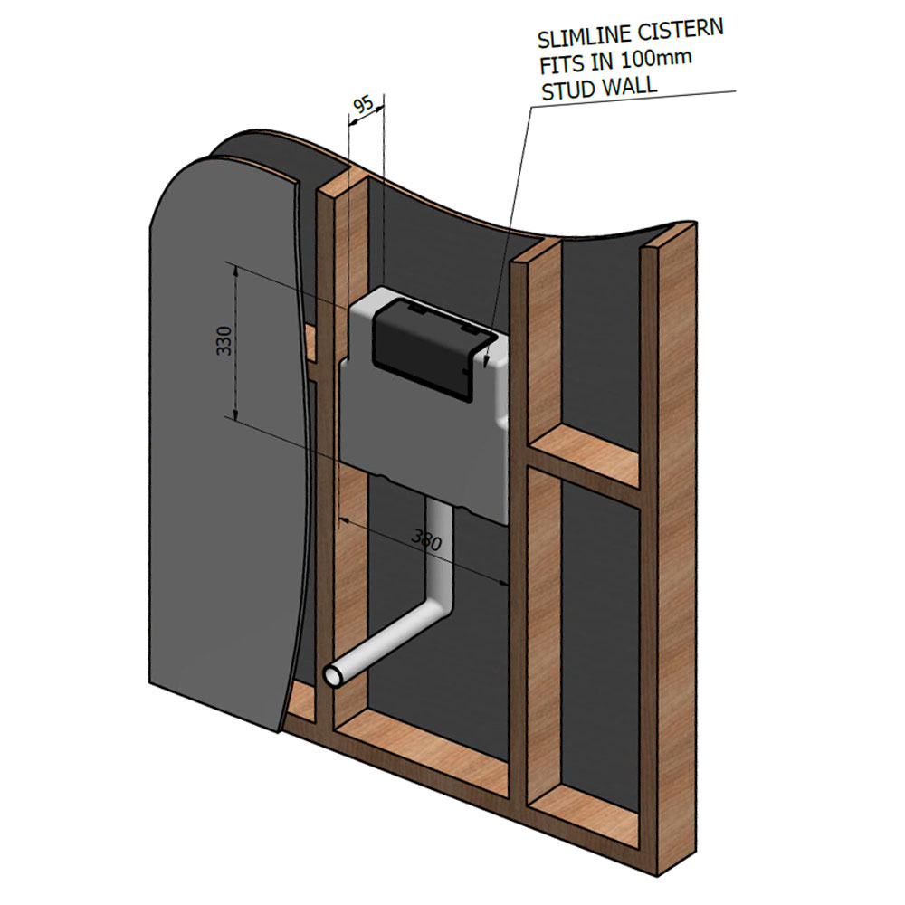 Slimline Concealed Cistern profile large image view 2