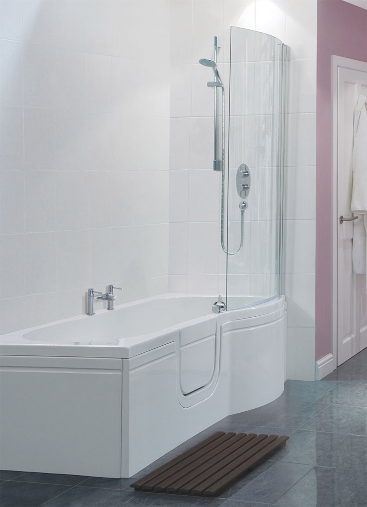 Home smarter bathing buttermere walk in p shaped bath with bath
