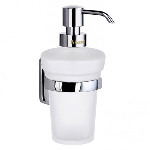 Smedbo Cabin Holder With Frosted Glass Soap Dispenser Chrome