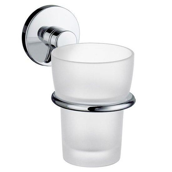 Smedbo Studio Holder with Frosted Glass Tumbler - Polished Chrome - NK343 profile large image view 1