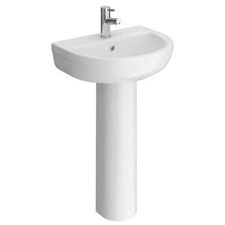 Sofia Modern Basin with Full Pedestal (1 Tap Hole - Various Sizes)
