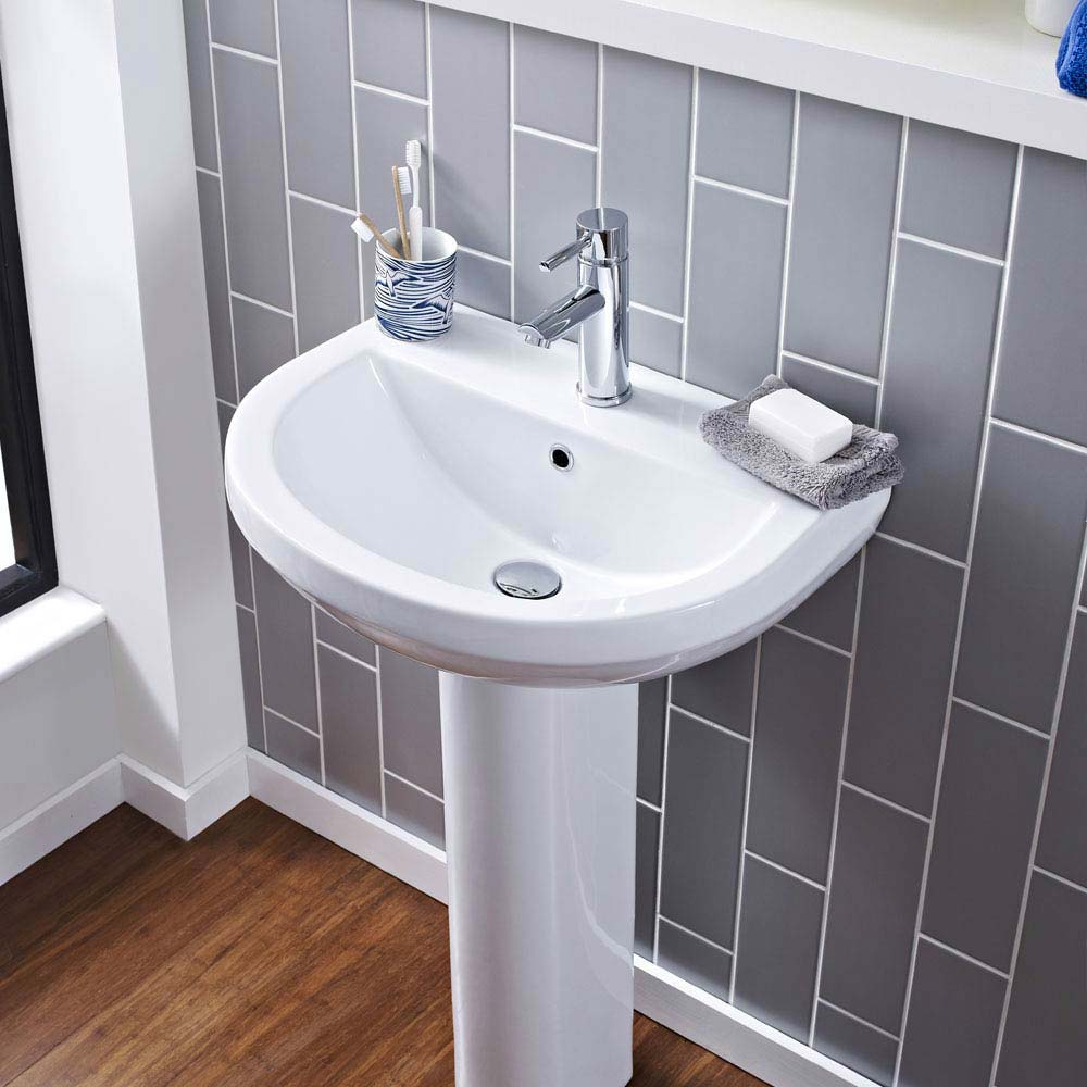 Sofia Modern Basin with Full Pedestal (1 Tap Hole - Various Sizes) profile large image view 3