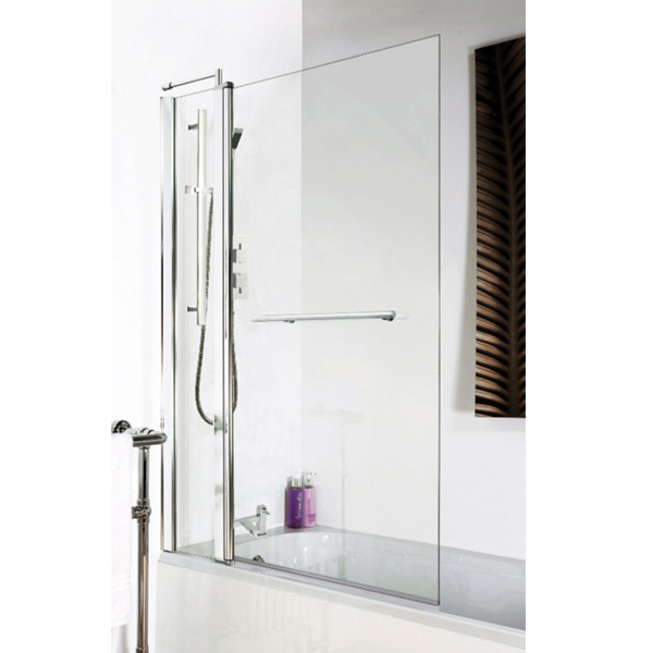 1400 Hinged Square Bath Screen with Fixed Panel & Rail - NSSQR2 profile large image view 2