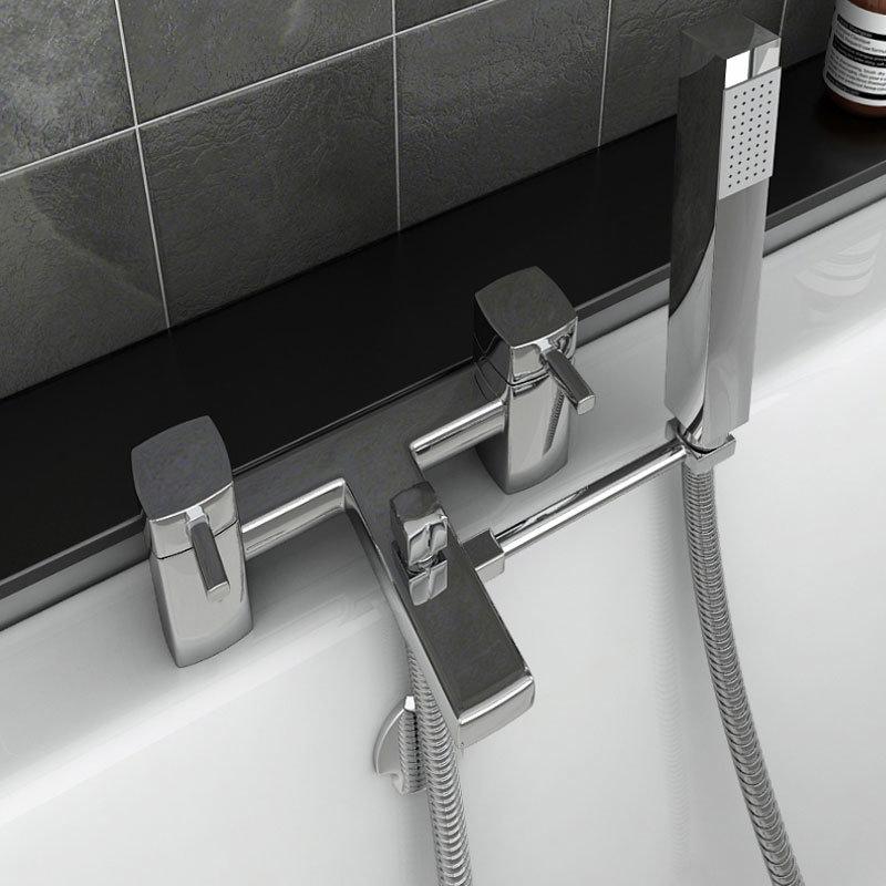 Square Bath Shower Mixer Handset Holder Arm Feature Large Image