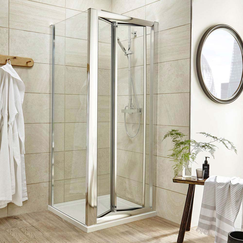 Square Bi-Fold Pacific Enclosure Inc. Shower Tray + Waste Large Image