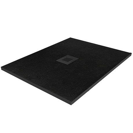 Imperia 900 x 900mm Black Slate Effect Square Shower Tray + Black Waste